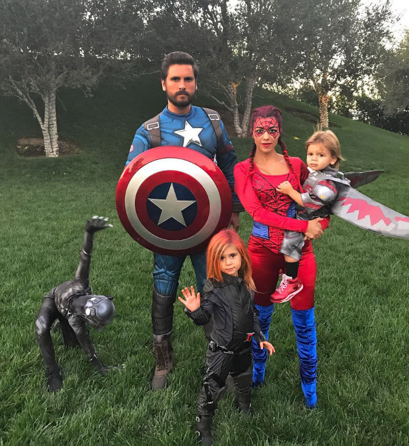 "Kourtney and Scott, who split in summer 2015, took it to the next level for Halloween in 2016. ""I know it's now November, but…"" she captioned an Instagram pic of the family in their costumes."