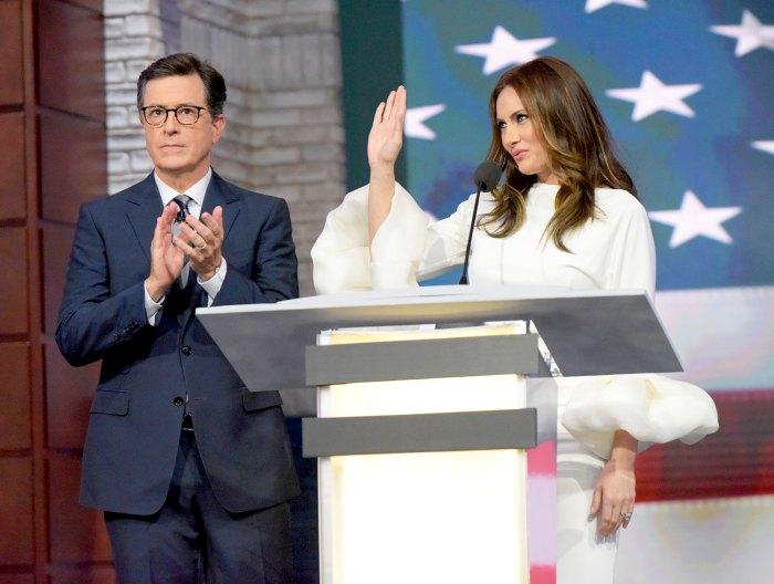 Stephen Colbert and Laura Benanti
