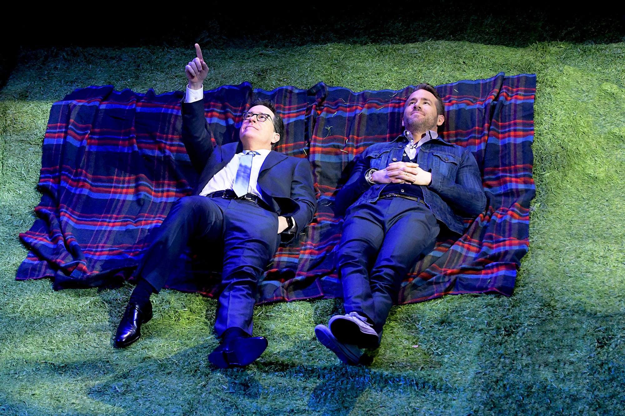 Stephen Colbert and Ryan Reynolds