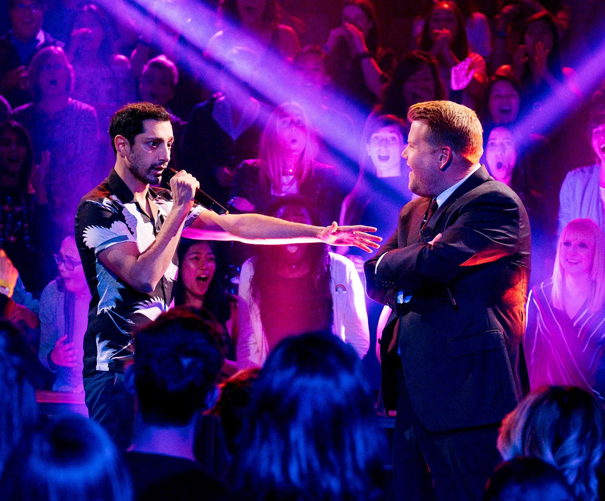 Riz Ahmed and James Corden