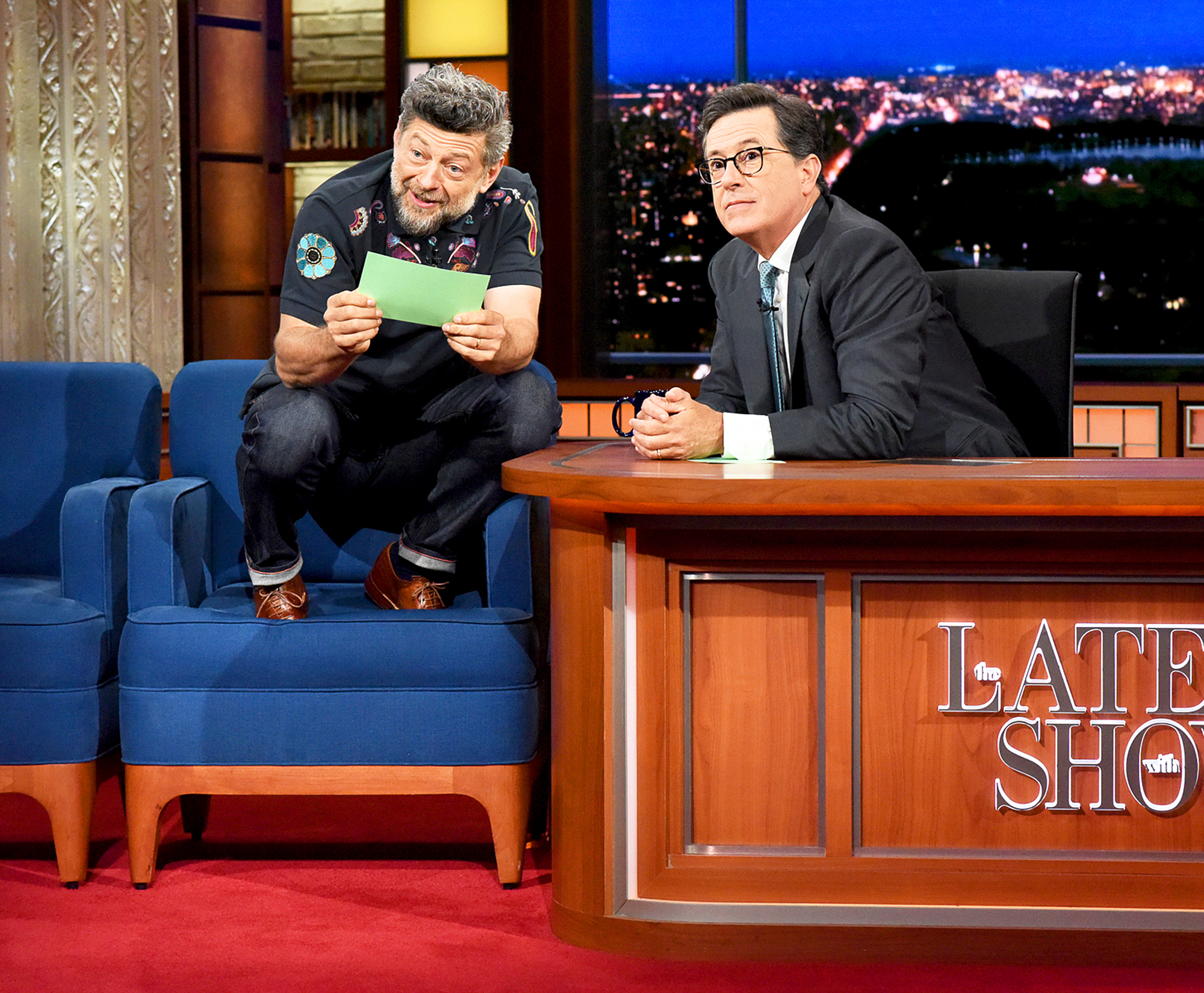 Andy Serkis and Stephen Colbert