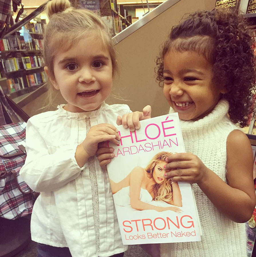 "Penelope and Nori helped promote Khloe Kardashian's book Strong Looks Better Naked in November 2015. ""I can't stop smiling when I look at this photo! I love my little ladies!! They were so excited and kept screaming 'KoKo!' 'KoKo!' North calls me 'KoKo Loco,'"" the author captioned on social media."