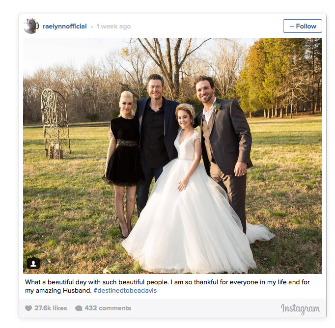 Blake Shelton Gwen Stefani - Back to Nashville again! In late February, the duo returned to the southern city for RaeLynn Woodward 's wedding to Josh Davis.
