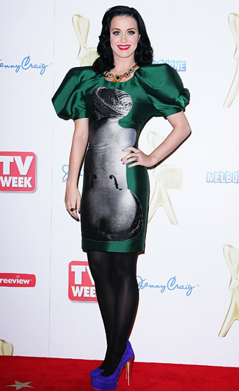 In a Man Ray-adorned dress by Jean Charles de Castelbajac at the 2011 Logie Awards in Melbourne, Australia.