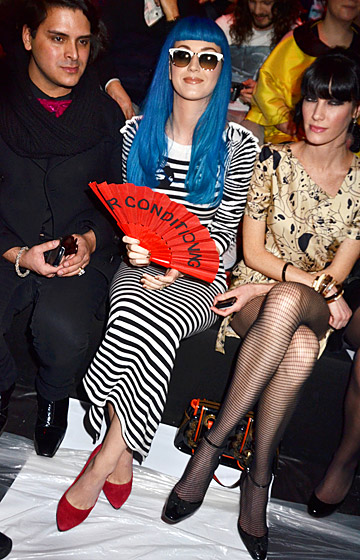 Yikes stripes! At the Jean Charles de Castelbajac show during Paris Fashion Week, the singer opted for the designer's zebra-print, form-fitting dress.