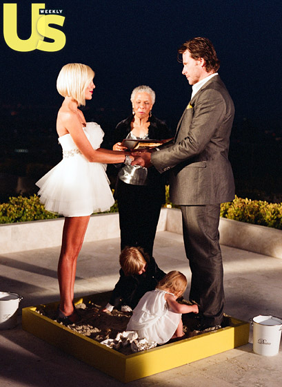 """While Spelling and McDermott said their """"I Do's"""" during a vow renewal ceremony in Beverly Hills, their kids played in a sandbox. """"It was amazing to have the kids playing by our feet and hear their voices while we exchanged the same vows as when it was the two of us,"""" McDermott tells Us ."""