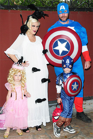Two weeks after giving birth to daughter Hattie Margaret, the family went trick-or-treating in Los Angeles.