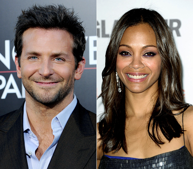 Cooper rang in 2012 with a kiss from Saldana, his costar in The Words . The couple split up after three months but quietly resumed their relationship later that fall.