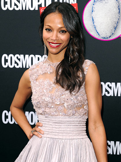"""What Zoe Saldana Tells Us: """"Before going to bed, I put Epsom salts into a warm bath and soak for 15 minutes. The next day I wake up with half the night erased."""" What the Expert Says: Magnesium sulphate (a.k.a. Epsom salt) can reduce bloating by drawing fluids out of the body, says Laura Ann Conroy, an aesthetician for Bliss."""