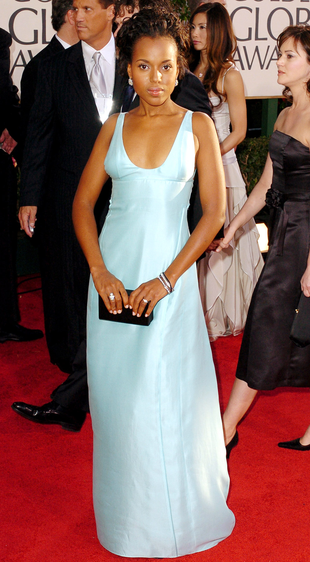 The Ray actress was regal in an ice-blue Narciso Rodriguez gown at the 2005 Golden Globes, where she cheered on co-star and Best Actor winner Jamie Foxx .