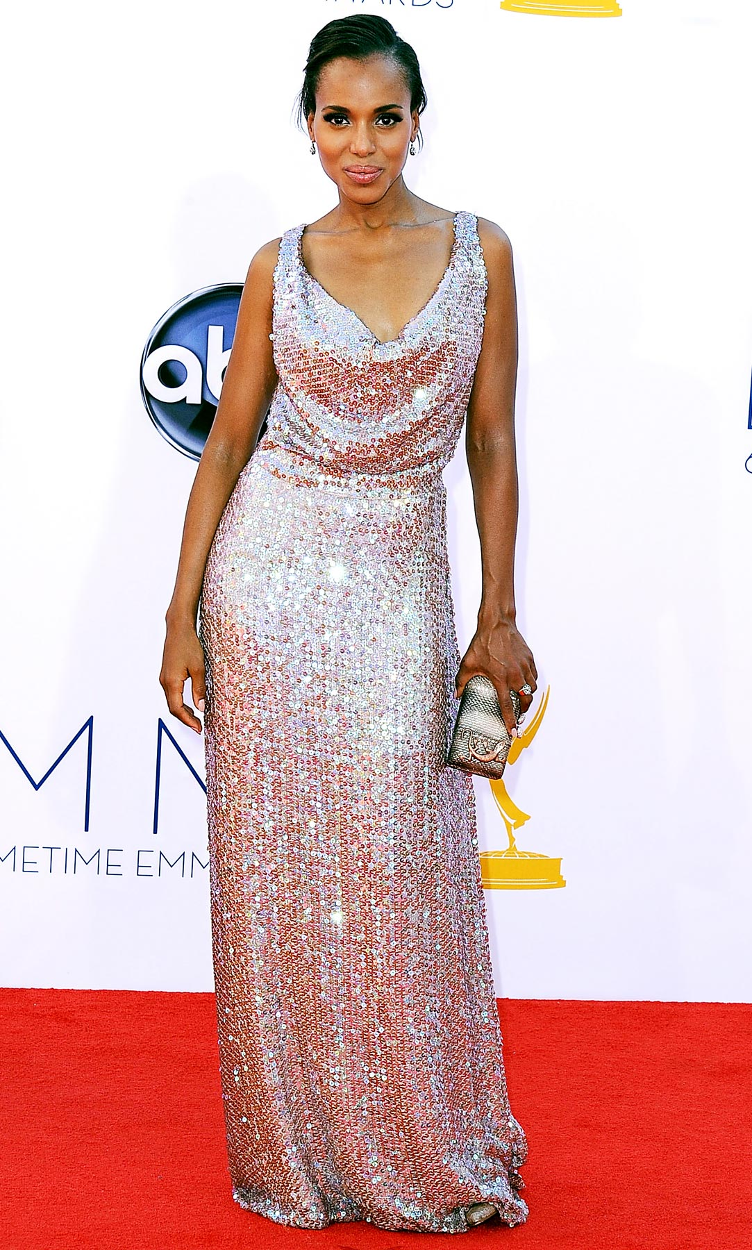 At L.A.'s Nokia Theatre for the 2012 Emmys, the Scandal star shimmered in a rose-gold sequined gown by Vivienne Westwood.