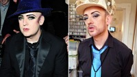 Boy George on March 4, 2011 in Paris and on February 17, 2013.