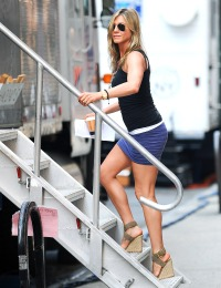 Jennifer Aniston is seen on the set in NYC on July 19, 2013