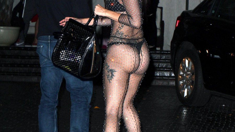 Lady Gaga, in sheer bejeweled outfit, with boyfriend Taylor Kinney