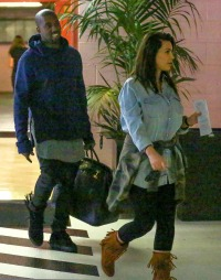 Kim Kardashian, Kanye West and baby North step out