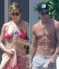 Justin Theroux and Jennifer Aniston in bikini on vacation in Mexico