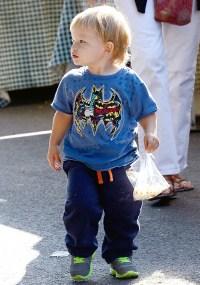 Samuel Affleck wearing a batman t-shirt on September 15, 2013