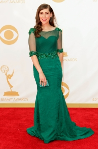 Mayim Bialik arrives at the 65th Annual Primetime Emmy Awards.