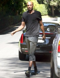 Lamar Odom leaving his house on October 1, 2013.