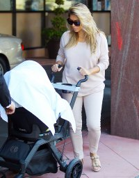 Kim Kardashian with baby Nori on October 10, 2013 in Beverly Hills