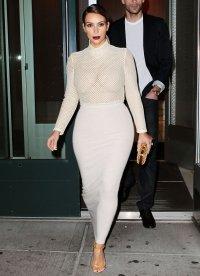 Kim Kardashian in a sheer top on November 18, 2013 in New York City