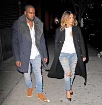 Kanye West and Kim Kardashian are seen on November 20, 2013 in NYC