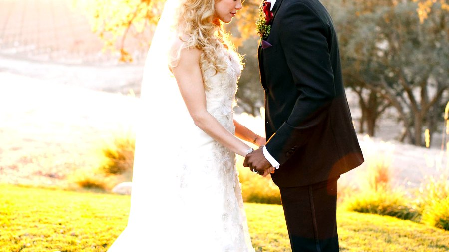 Allison Holker and Twitch Boss pose for wedding pictures