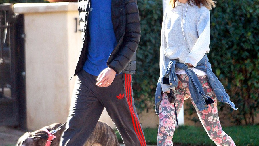 Adam Brody and Leighton Meester take their dogs for a walk in LA