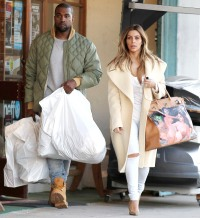 Kanye West and Kim Kardashian on December 26, 2013 in Los Angeles