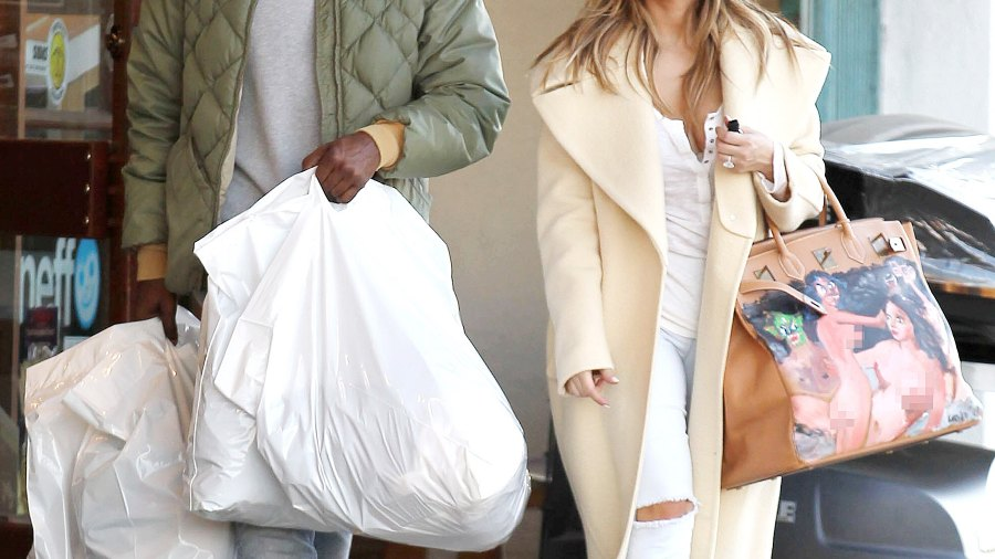 Kanye West and Kim Kardashian on December 26, 2013 in Los Angeles