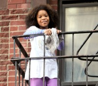 "Quvenzhane Wallis on the set of ""Annie"" on Nov. 16, 2013 in NYC"