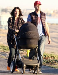 Jennifer Love Hewitt, Brian Hallisay and baby on January 15, 2014