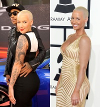 Amber Rose with and without tattoos