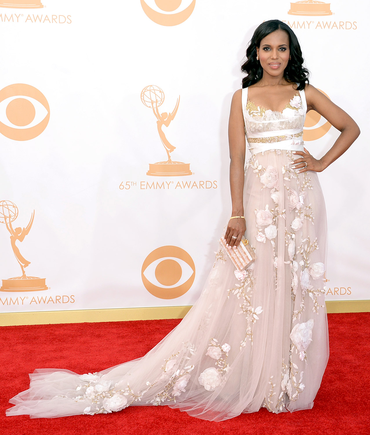 The Bronx native looked pretty in pink at the 65th Annual Primetime Emmy Awards in L.A. She donned an elegant Marchesa gown with flower beaded detail. She also accessorized with a pink clutch and gold jewelry.