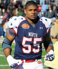Michael Sam before the Senior Bowl NCAA college football game
