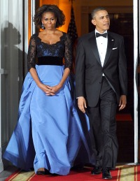Michelle and Barack Obama at the State Dinner on Feb. 11, 2014