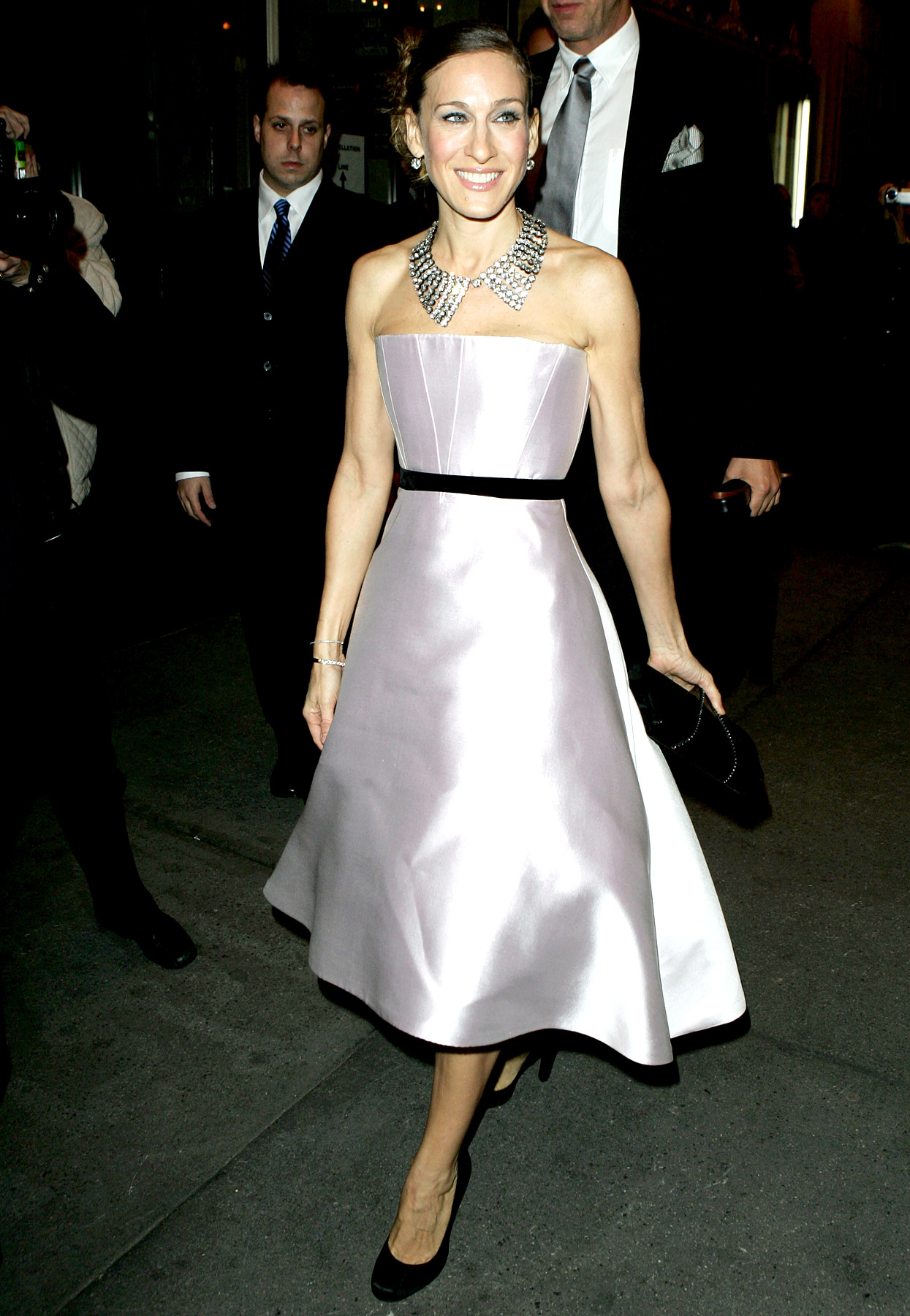 Stunning in satin! The Broadway veteran's simple, strapless pink Peter Soronen gown at the Odd Couple Broadway opener on Oct. 27, 2005, was given some New York flare with a bejeweled collar necklace and a chic updo.