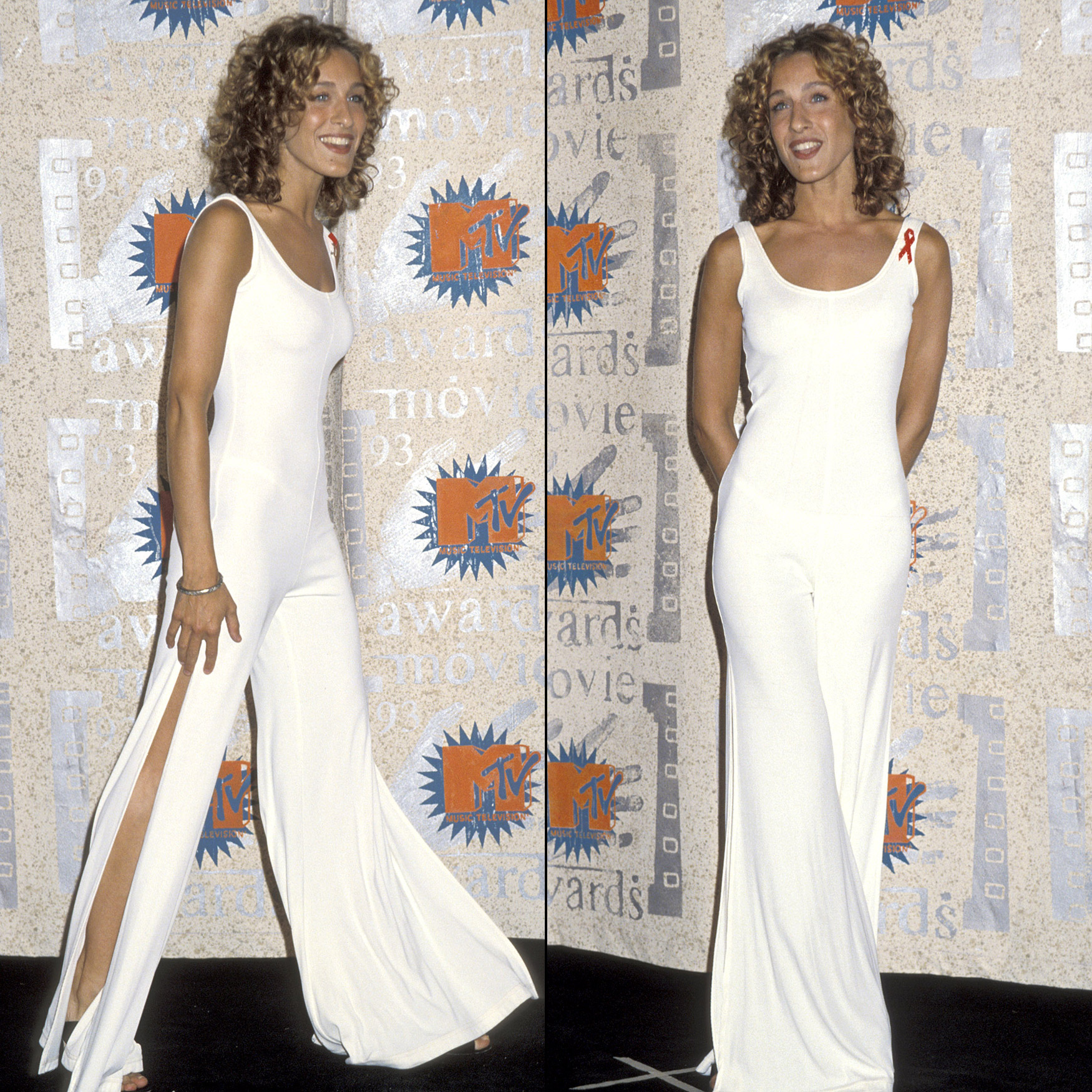 From a distance, Parker's white one piece jumpsuit at the 2nd Annual MTV Movie Awards on June 5, 1993, was innocent, but under the stage lights, fans and photographers could easily see her white bra and thong.