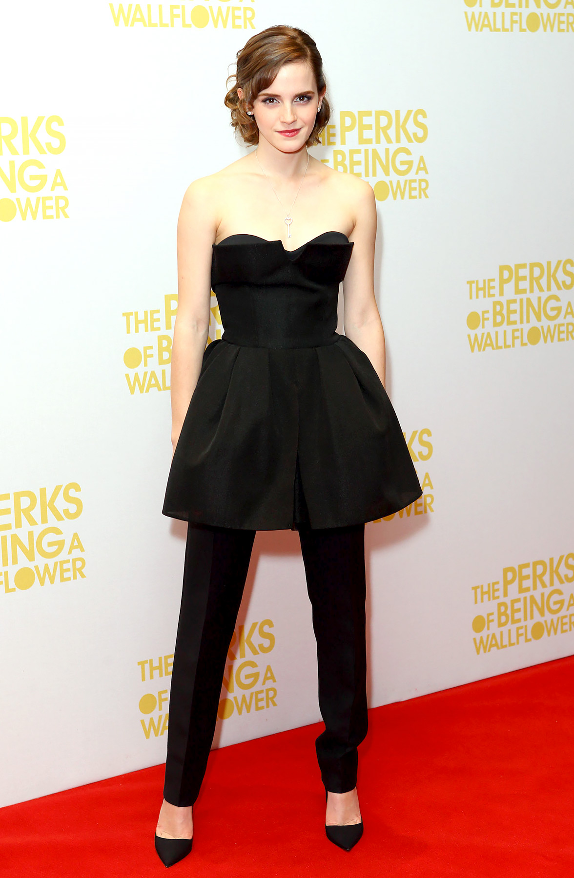 The style star showed off her fashion sensibility at the premiere for her acclaimed indie, The Perks of Being a Wallflower . She kicked the trend of a dress over pants up a notch, wearing a Christian Dior runway look.