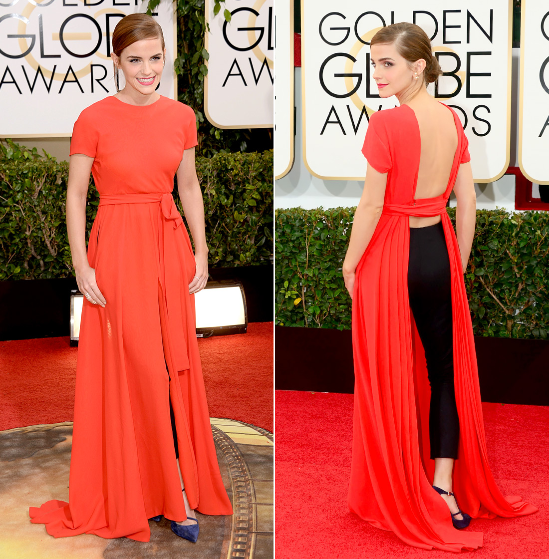 Emma turned heads (and her own back!) at the 2014 Golden Globe Awards, taking a style risk in Beverly Hills. She did a little business in the front, party in the back, with a Christian Dior number that appeared to be a classic red gown but showed off a pair of black cropped pants with its open back.