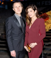 Scott Campbell and pregnant Lake Bell on April 23, 2014 in New York