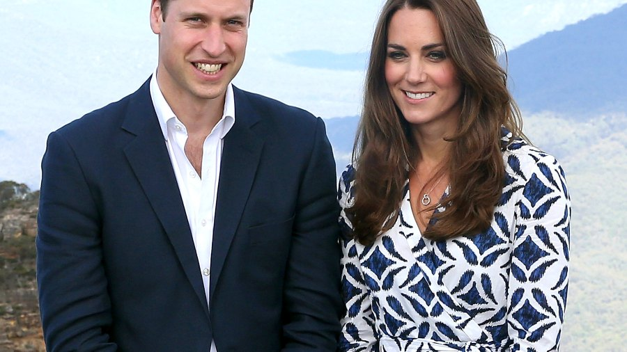Prince William and Kate Middleton pose for a photograph at Echo Point