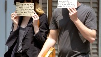 Emma Stone and Andrew Garfield share a message on signs on June 17