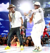 Pharrell Williams and Missy Elliott perform during the BET Awards