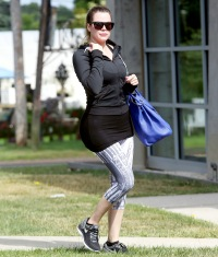 Khloe Kardashian goes to a class at Tracy Anderson in Water Mill
