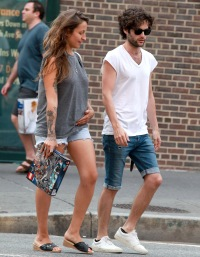 Penn Badgley and girlfriend Domino Kirke in the West Village
