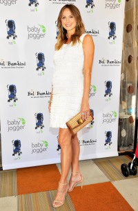 Stacy Keibler wows in JustFab shoes at the Vue stroller launch in July