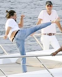 Leonardo DiCaprio doing karate on a yacht in St. Tropez