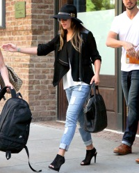 Lea Michele leaves her hotel on July 25, 2014 in NYC