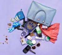 Famke Janssen spills her purse for Us Weekly.